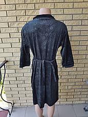 Халат женский велюровый на молнии, с врезными боковыми карманами, большие размеры XIANG, фото 2