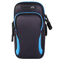 Универсальный чехол-сумка на руку для телефона, черная с цветными вставками, с карманами для ключей и денег