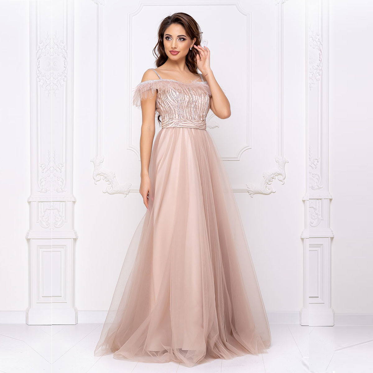 """Бежевое свадебное платье пышное длинное вечернее """"Перфект"""""""