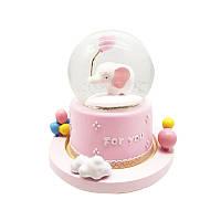 """Музыкальный снежный шар с автоподдувом """"For you"""" Слонёнок, Размер:18 см, Цвет Розовый"""
