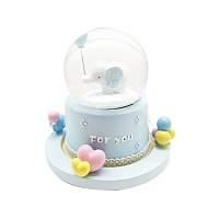 """Музыкальный снежный шар с автоподдувом """"For you"""" Слонёнок, Размер:18 см, Цвет Голубой"""