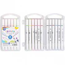 Фломастер двухсторонний 12 цветов для скетчинга Children Marker