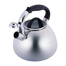 Чайник Kamille 2.8л из нержавеющей стали со свистком и стеклянной крышкой для индукции и газа KM-0674, фото 2