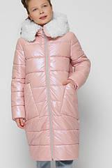 Лаковая зимняя куртка пуховик для девочек X-Woyz 8305 размеры 110- 164