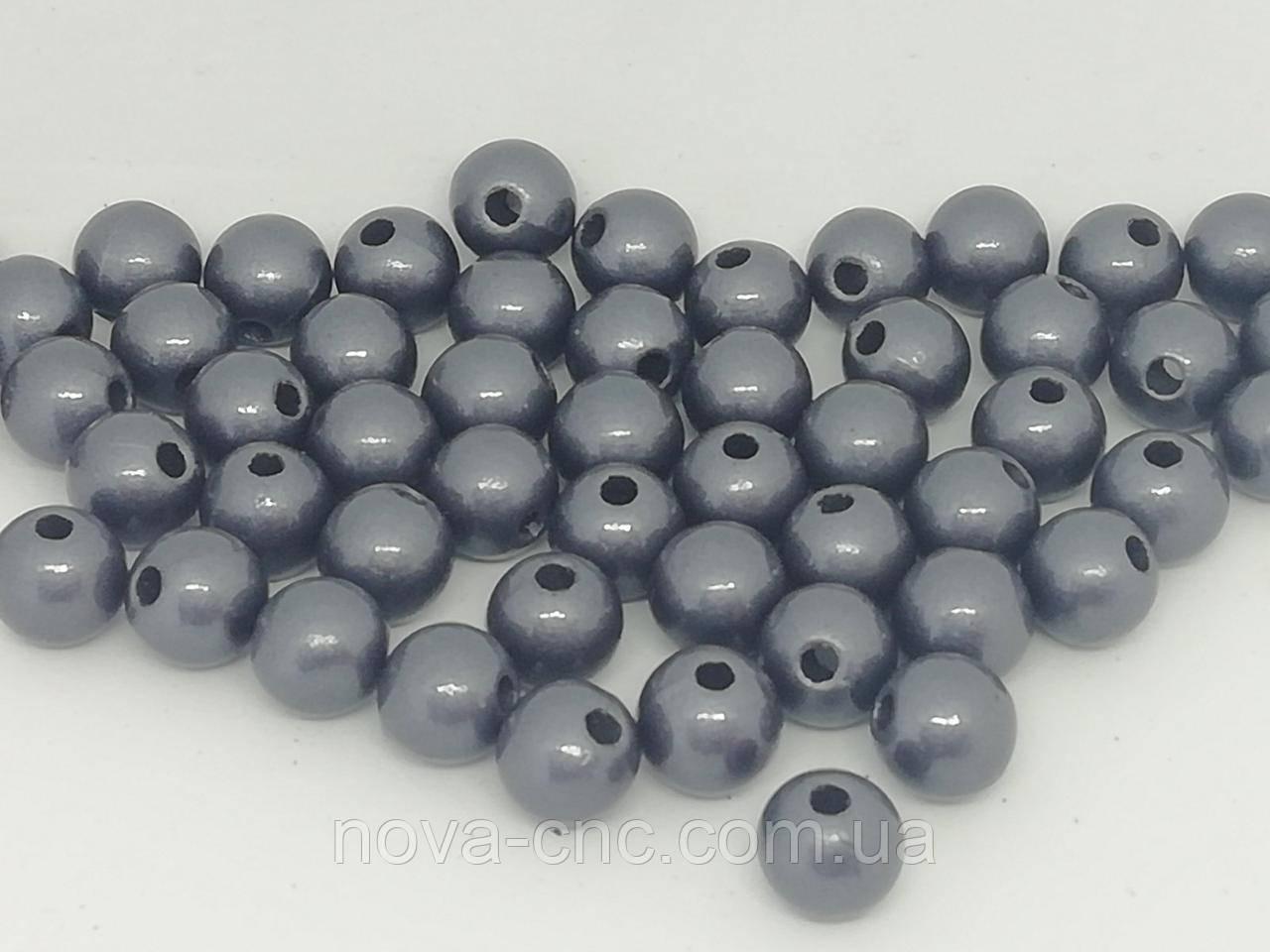 """Намистини пластик """"Куля гладкий"""" сірий 9 мм 500 грам"""
