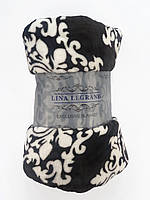 Большой плед покрывало с узором 200x220см микрофибра LINA LEGRAND