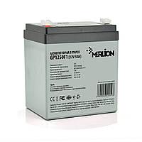 Акумуляторна батарея MERLION AGM GP1250F1, 12V 5Ah ( 90 х 70 х 100 (105) ) White/Black Q10