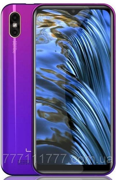 Смартфон тонкий безрамочный с двойной камерой и большим экраном на 2 sim Leagoo M12 twilight 2/16 гб