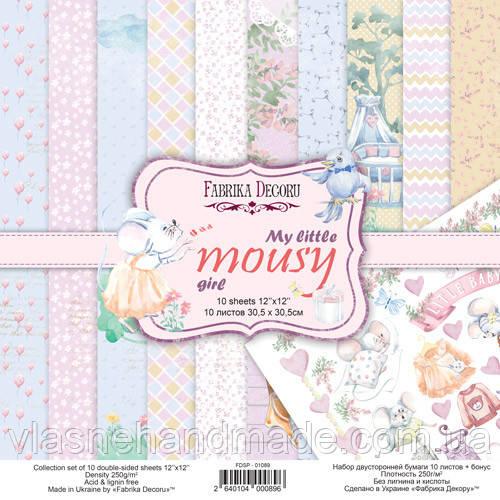 Набір двостороннього паперу - My little mousy girl - Fabrika Decoru - 30x30