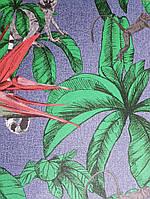 Обои виниловые на флизелине горячего тиснения Marburg Natural vibes метровые листья животные на темно синем, фото 1