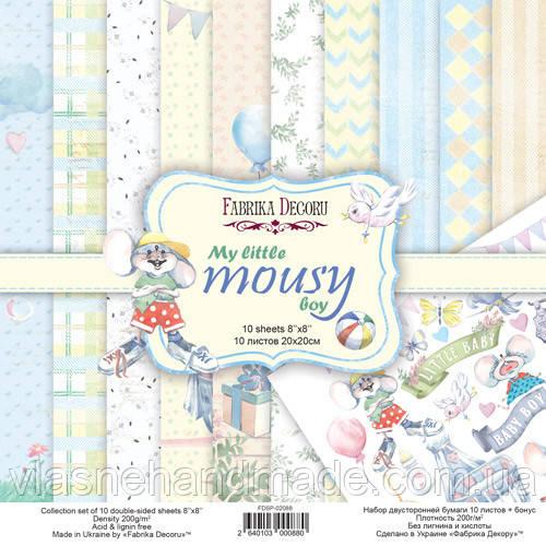 Набір двостороннього паперу - My little mousy boy - Fabrika Decoru - 20x20