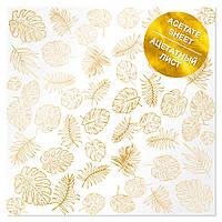 Ацетат з фольгуванням - Golden Tropical Leaves - Fabrika Decoru - 30x30