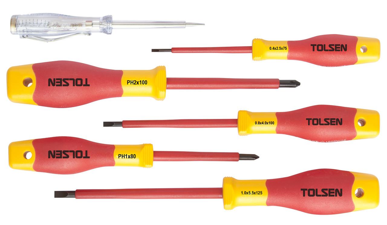 Комплект отверток диэлектрических VDE 6 предметов Толсен Premium