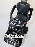 Толокар-электромобиль 2в1 с родительской ручкой M 3853EL, Черный, фото 5