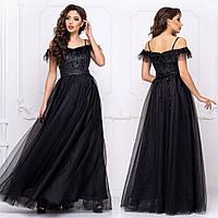 """Вечірнє чорне плаття максі пишне """"Перфект"""", фото 1"""