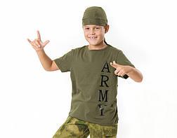 Футболка детская для мальчиков и девочек Army цвет Хаки, фото 3