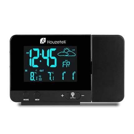 Годинник метеостанція з проектором Houzetek 3531B (Чорний), фото 2