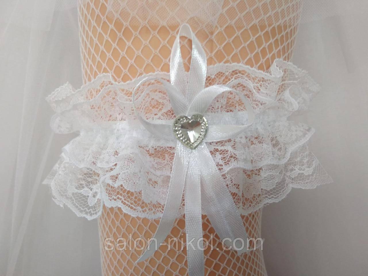 Подвязка для невесты кружевная белая