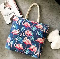 Женская сумка пляжная Flamingo blue
