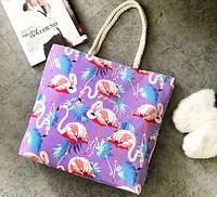 Женская сумка пляжная Flamingo purple