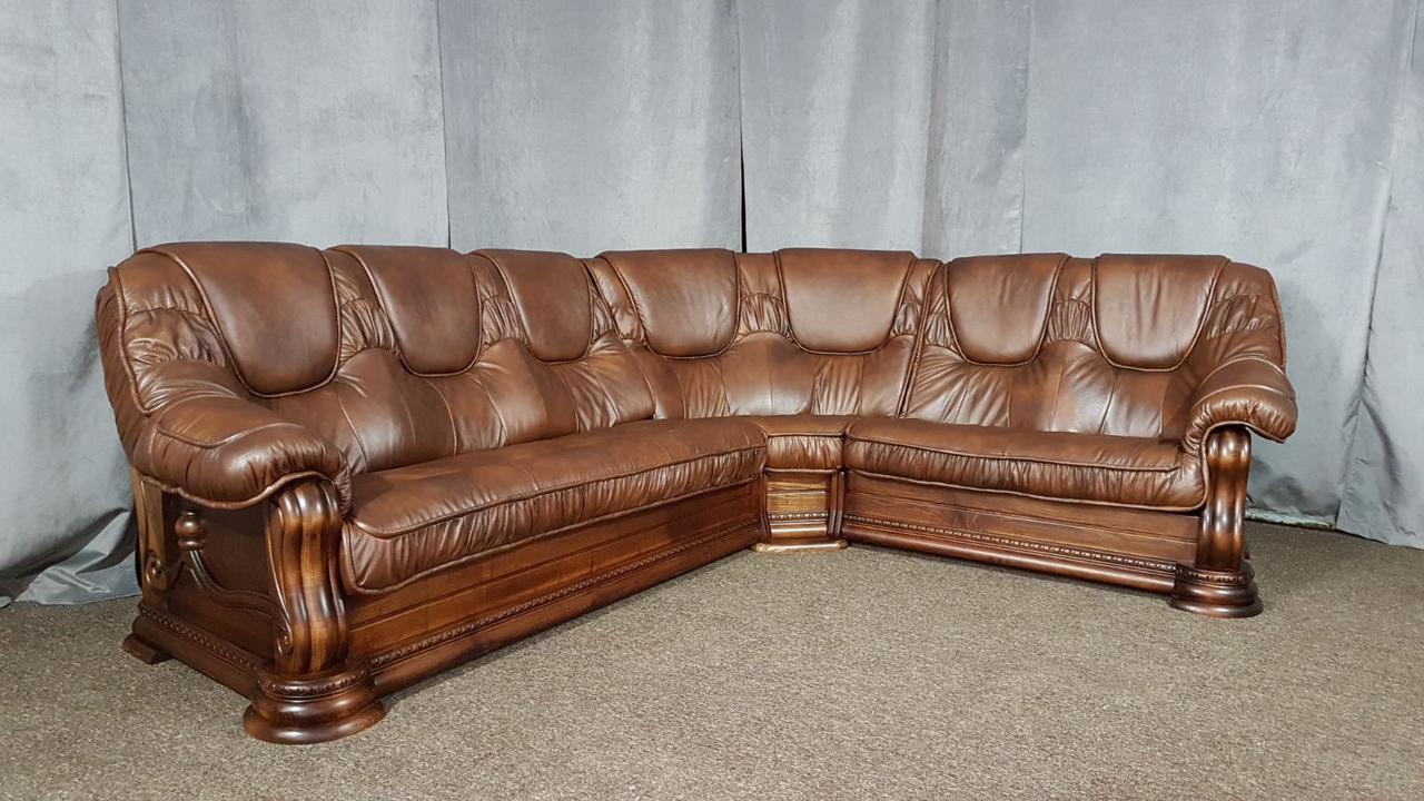 """Кожаный угловой диван """"Grizly"""" Гризли, итальянская кожа"""
