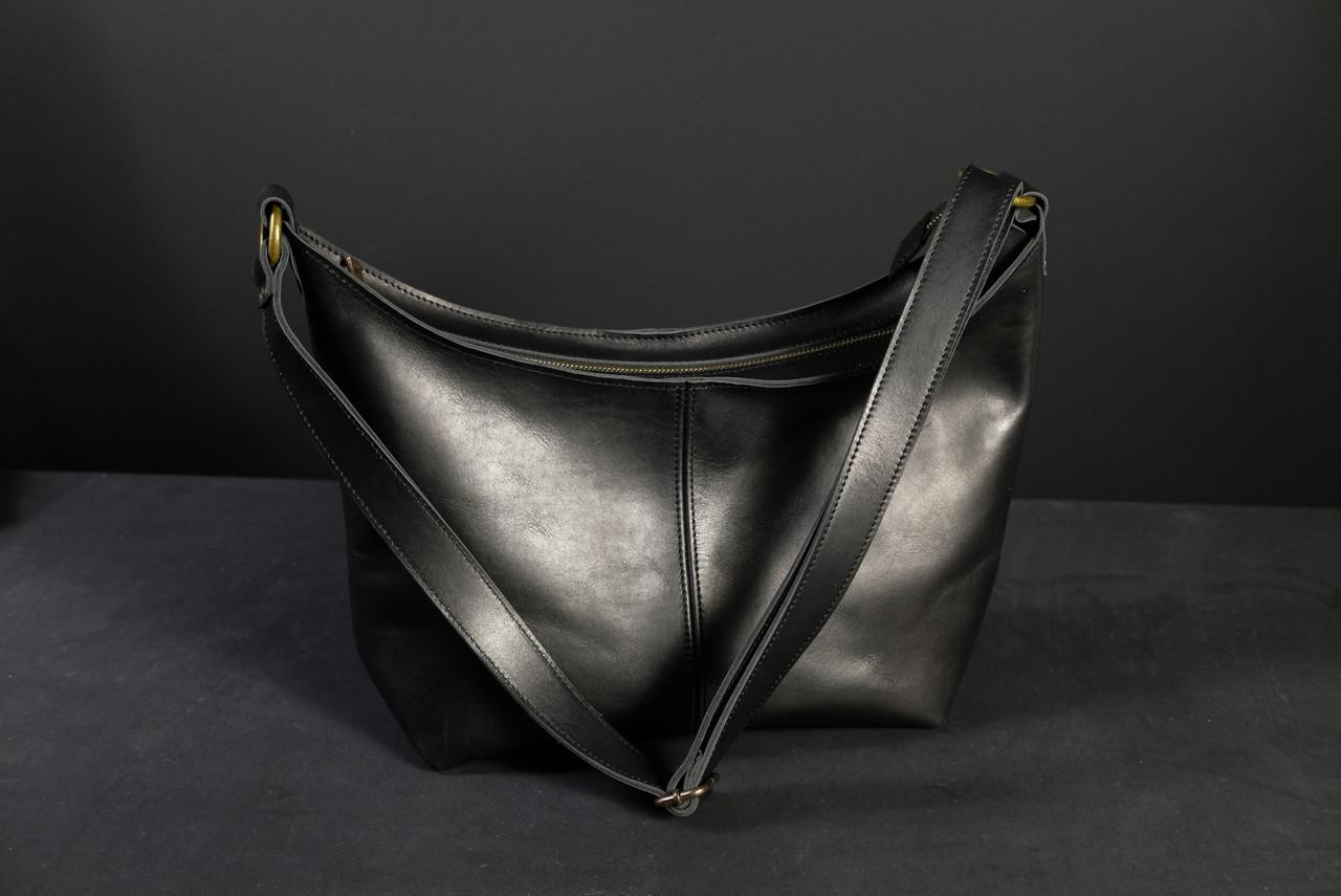 Женская сумка Луна Кожа Итальянский краст, цвет Черный