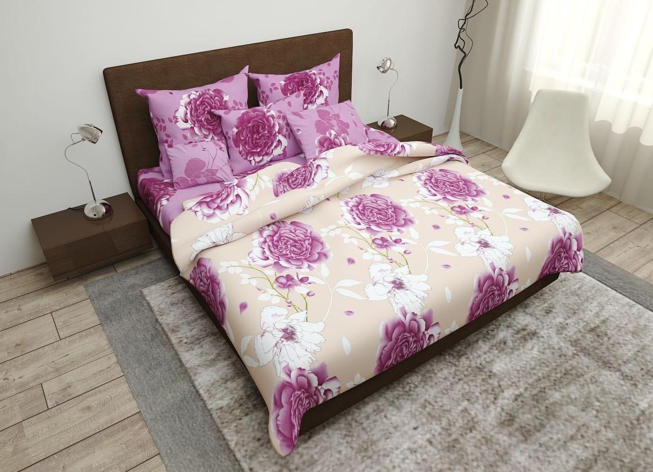 """Комплект двуспальный постельного белья ТМ """"Ловец снов"""",  Фиолетовые розы"""