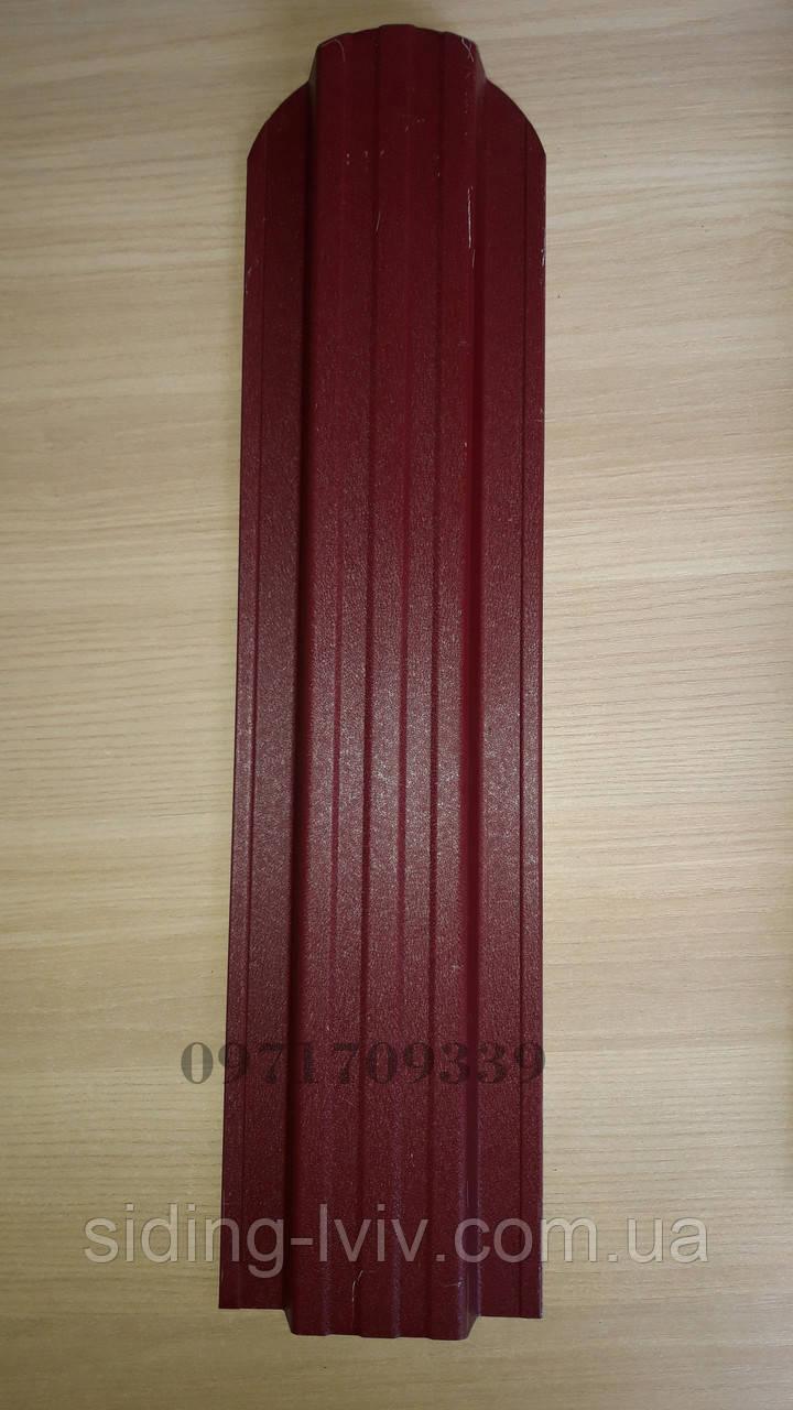 Штахети металеві 115 мм червоний RAL 3005 матовий 2х сторонній