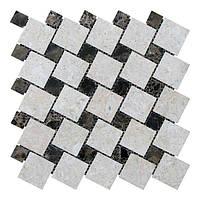 Мраморная мозаика мрамор Victoria Beige/мрамор Emperador Dark (47х47 мм/23х23x6 мм) Полированная