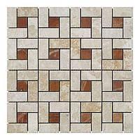 Мраморная мозаика мрамор Victoria Beige/мрамор Rojo Alicante (23х23 мм/47х23x6 мм) Полированная