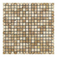Мраморная мозаика Travertine Classic (15x15x6 мм) Полированная