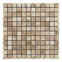 Мраморная мозаика Travertine Classic (23х23x6 мм) Стареная/Валтованная