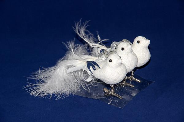 Набор новогодних игрушек - птички с декором, 3 шт, 8 см, белый, пенопласт (200435)
