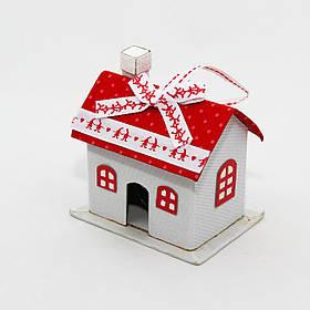 Новогодняя елочная игрушка - фигурка Домик, 10 см, белый, текстиль (430680)