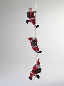 Уличный декор 3 мягких Деда Мороза 35 см на веревке 1 м, арт. 051427