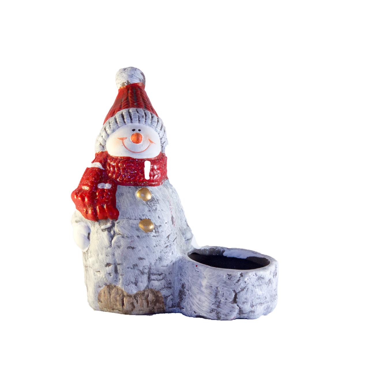 Свічник - Сніговик, 11,1*5,8*12,8 см, білий з червоним, кераміка (022885)