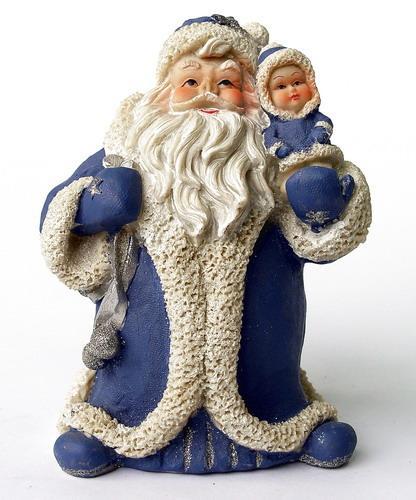 Декоративная фигурка - Дед Мороз, 22 см, синий с белым, полистоун (950439)
