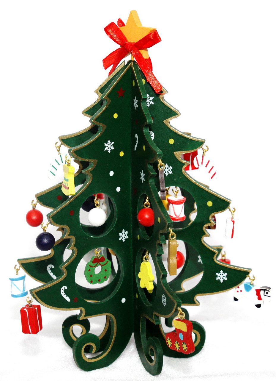 Настольная деревянная раскладная елка, 22 см, зеленый, дерево (060542)