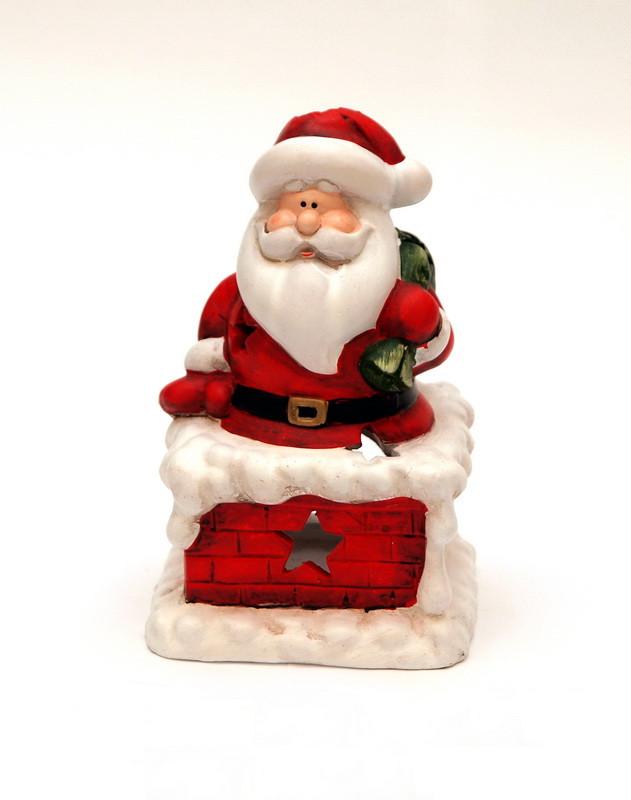 Декоративная фигурка - Дед мороз на трубе с мешком, красный, пластик, текстиль (011735)