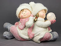Светящаяся фигурка Мальчик и девочка сидящие рядом, магнезия, 47,5*21*30см (920043)
