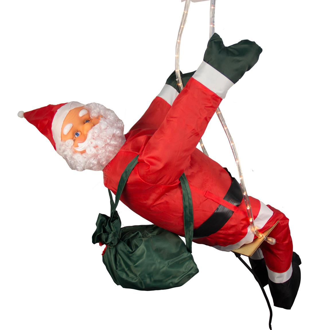 Светодиодная гирлянда-декорация Мягкий Дед Мороз, 90 см на качеле (810221)