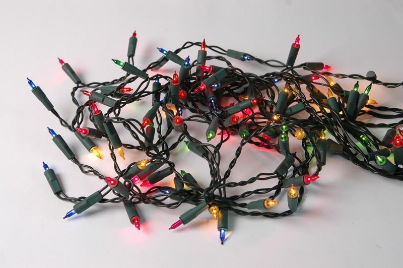 Светодиодная гирлянда обычные лампочки 100Л разноцветная (350520)