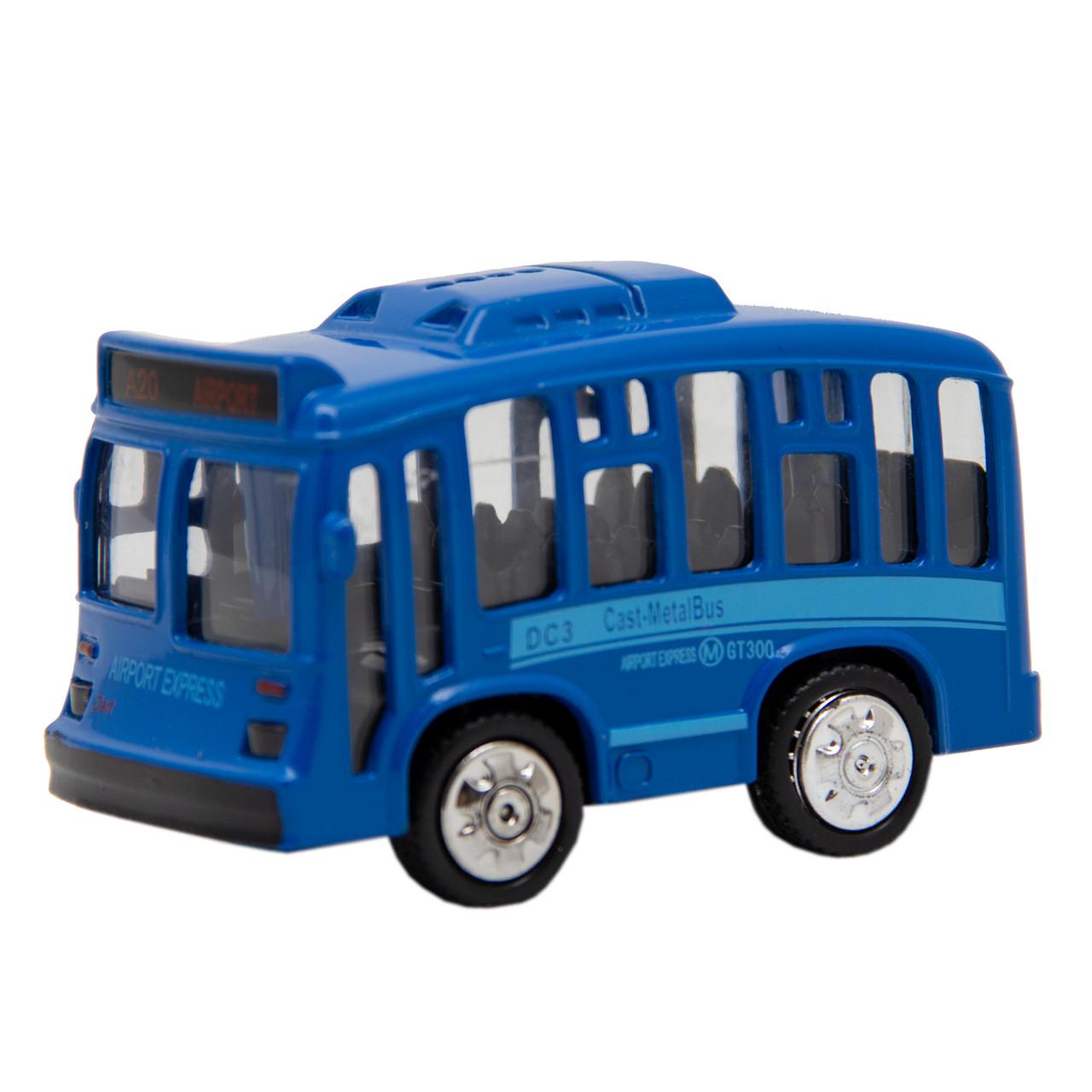Игрушка детская - Автобус 1:36, инерционный, музыкальный, 8*5*4 см, синий, металл (A872784MK-W-3)