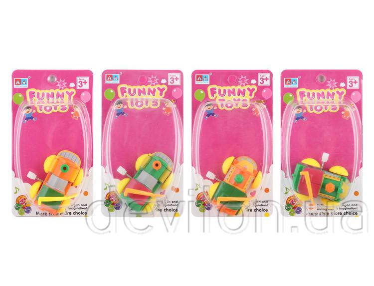 Іграшка заводна - паровоз заводний, жовтий, зелений, пластик (8076A-3)