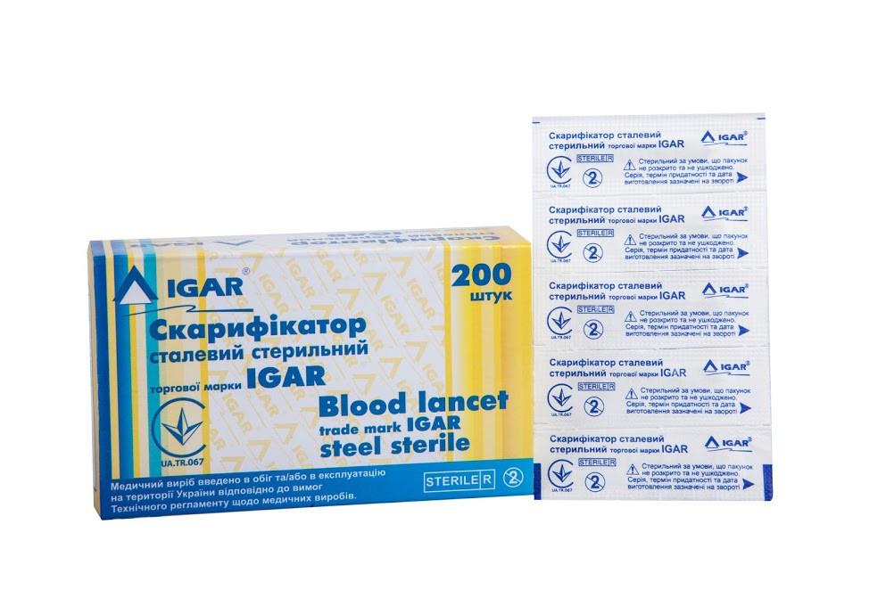 Скарификатор стальной IGAR стерильный 200шт