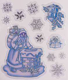Лист с 12 декоративными новогодними наклейками, серебро-синий (070113)