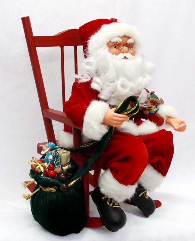 Дед Мороз музыкальный, на кресле-качалке, 41см, (230198)