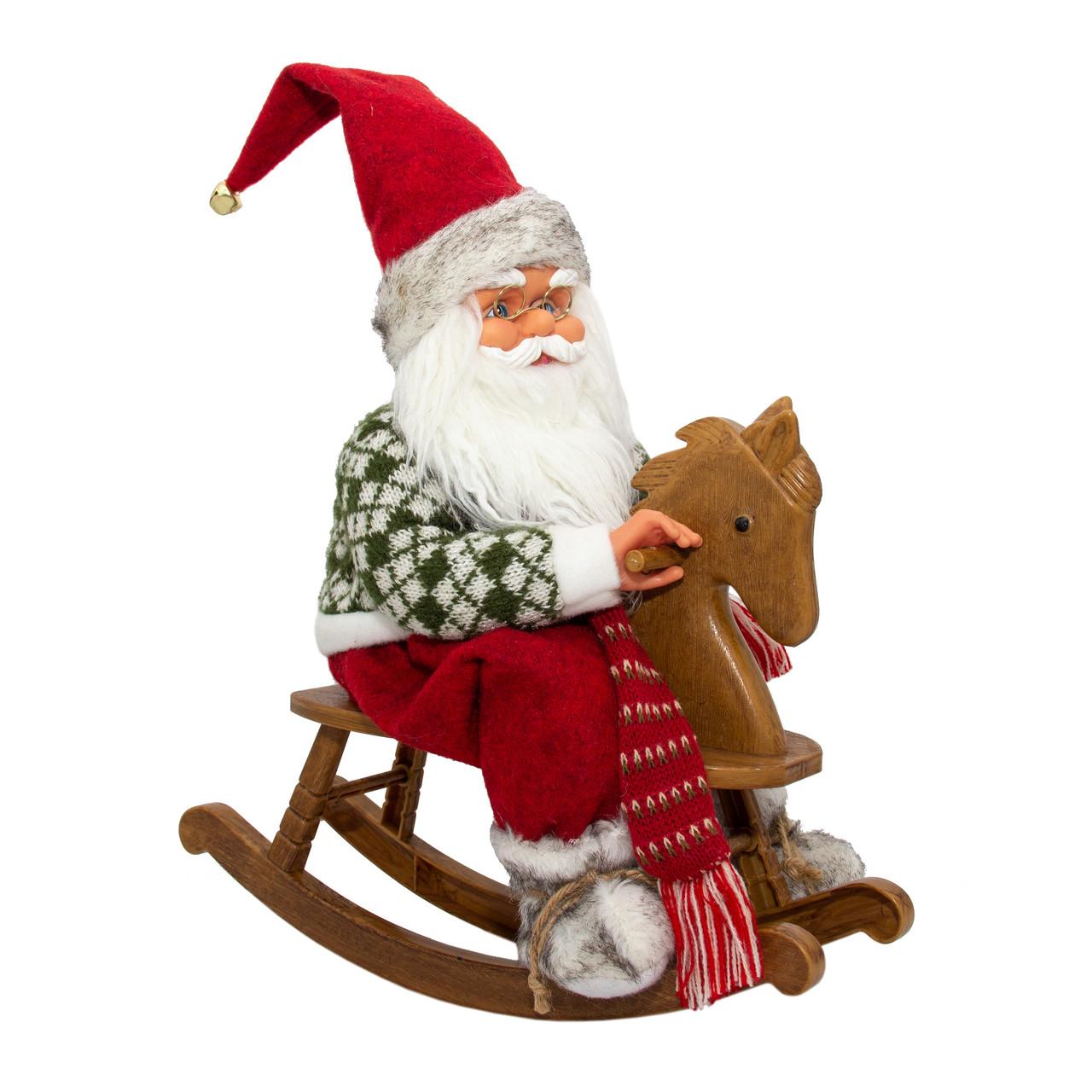 Дед Мороз музыкальный, на лошади, 41 см, красный (230266)