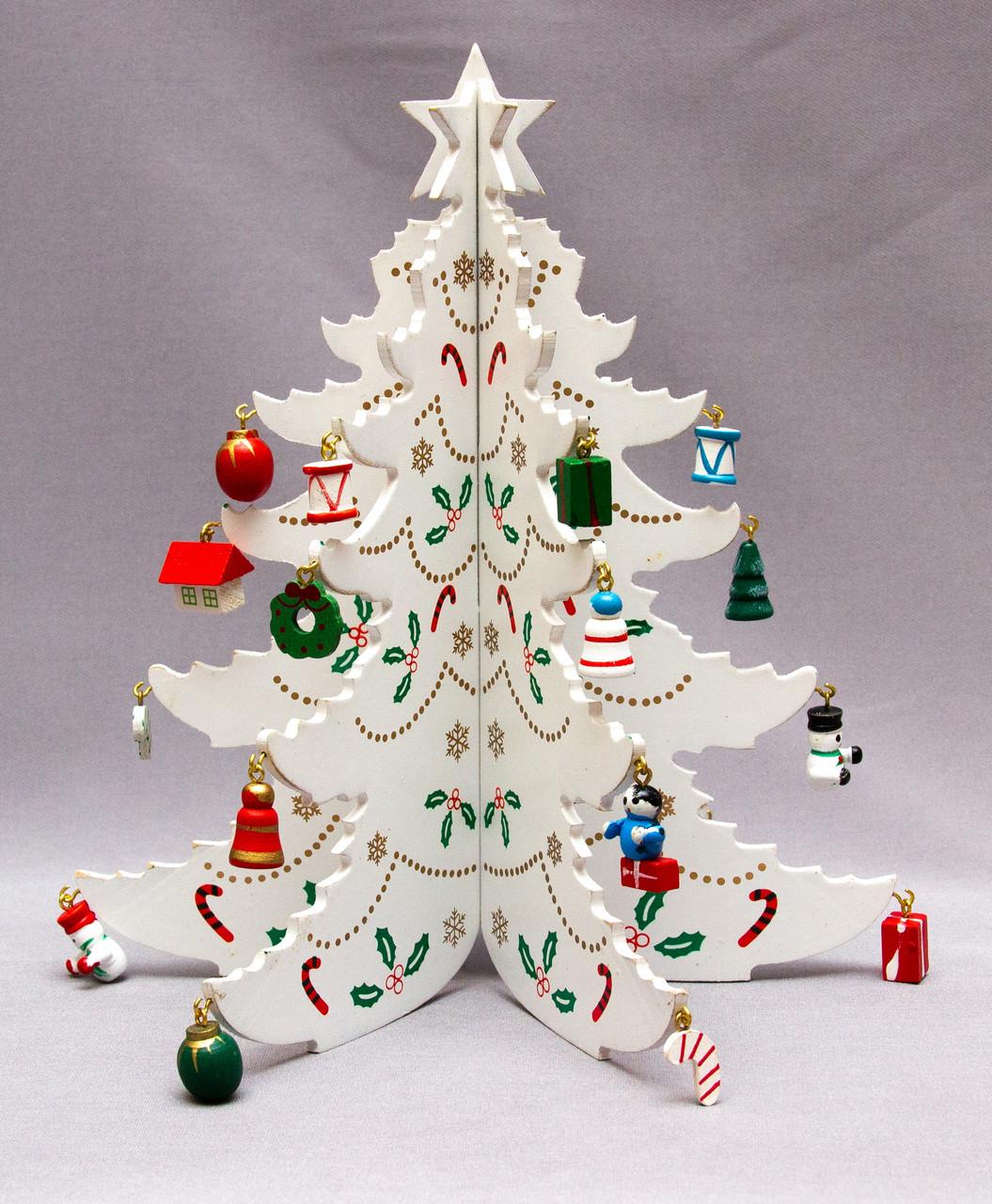 Настільна дерев'яна ялинка, 22 см, білий, дерево (060887)