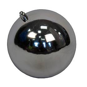 Куля пластикова глянцева d-12см, срібло (890896)
